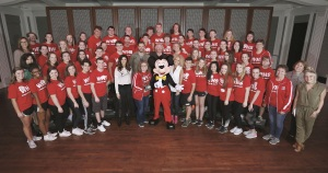 LAKE BUENA VISTA, Fla. (January 13, 2017) Students from Wadsworth High School, Ohio choir group, pose with five-time CMA Vocal Group of the Year Little Big Town and Mickey Mouse as they kick off Music In Our School Tour at Disney. (L-R)  Jane Mell Balek, Give a Note CEO, Karen Fairchild, Jimi Westbrook, Terry Dola, Disney Performing Arts vice president, Kalyn Davis school choir director, Philip Sweet, Kimberly Schlapman, Sarah Trahern, CMA CEO and Radio Disney host, Savanah Keys (far right).